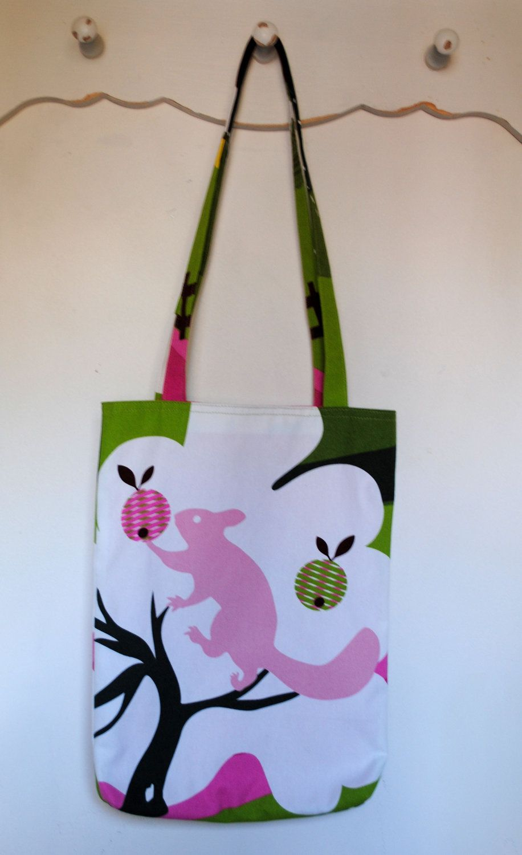 Handmade tote shoulder bag in ikea annamoa squirrel print