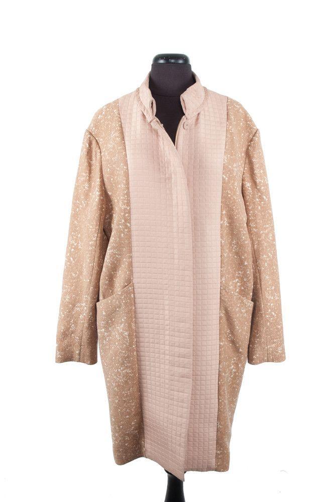 Camel & White Cotton Coat