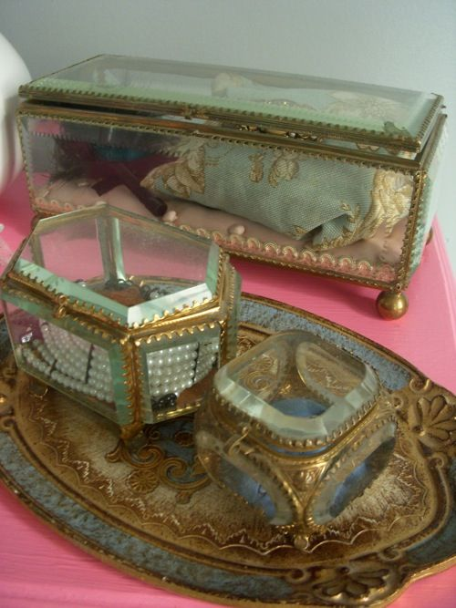 so love beveled glass jewelry boxescaskets Love Antiques