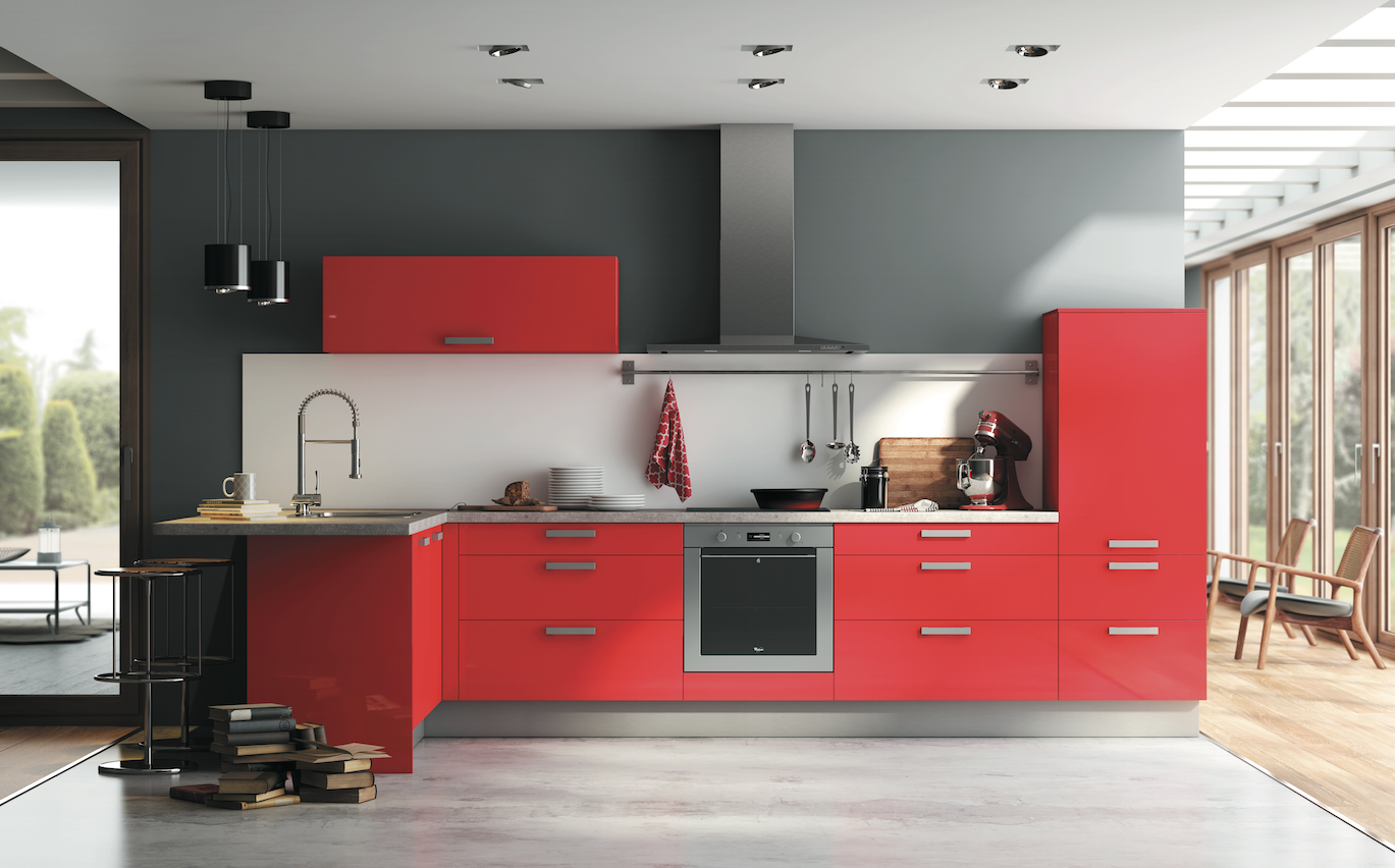 Cuisine rouge rubis son prix 4390 lectrom nagers inclus la collection aviva pinterest for Cuisine equipee avec electromenager inclus