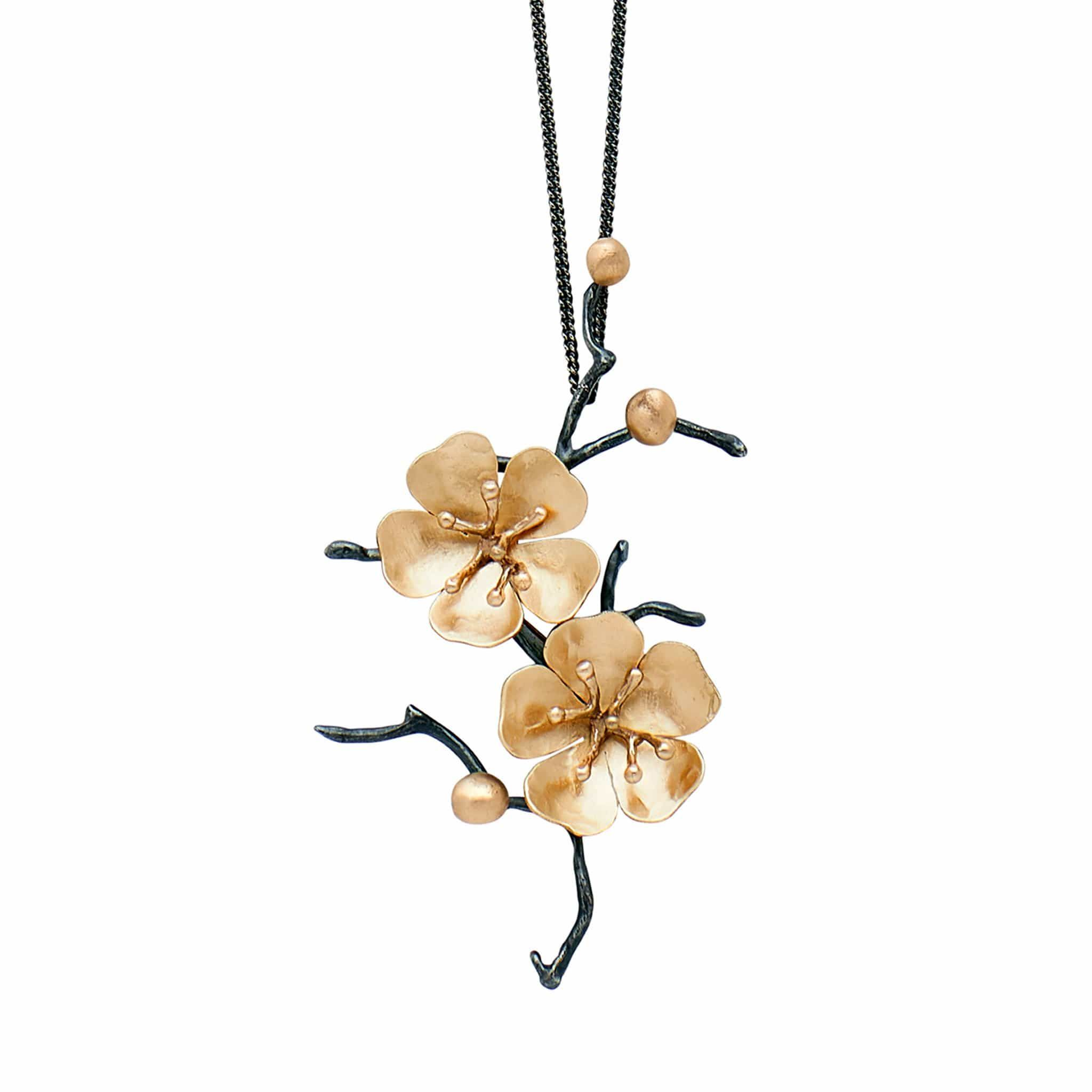 Cherry Blossom Bronze Sterling Pin And Pendant Cherry Blossom Festival Demi Fine Jewelry Hybrid Tea Roses