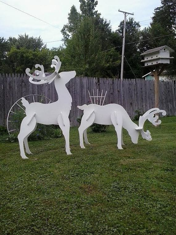outdoor white reindeer christmas wood yard art lawn decoration - Outdoor Wooden Reindeer Christmas Decorations