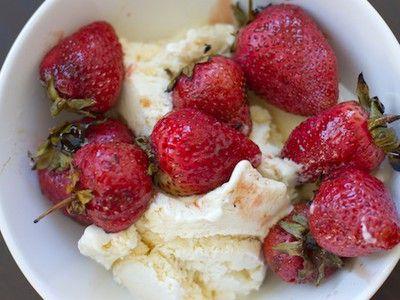 Grilled Strawberries Over Vanilla Ice Cream
