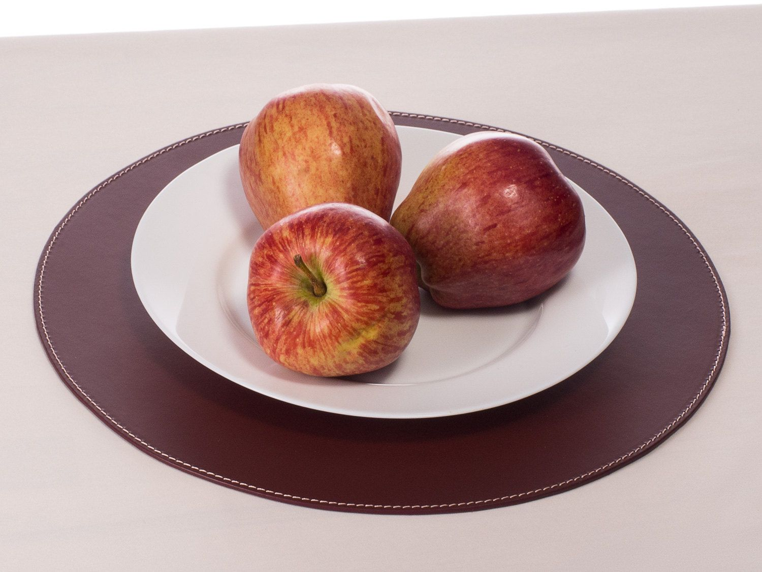 Round Placemats Recycled Natural Leather Round Dining Set Burgundy Table  Matsu2026