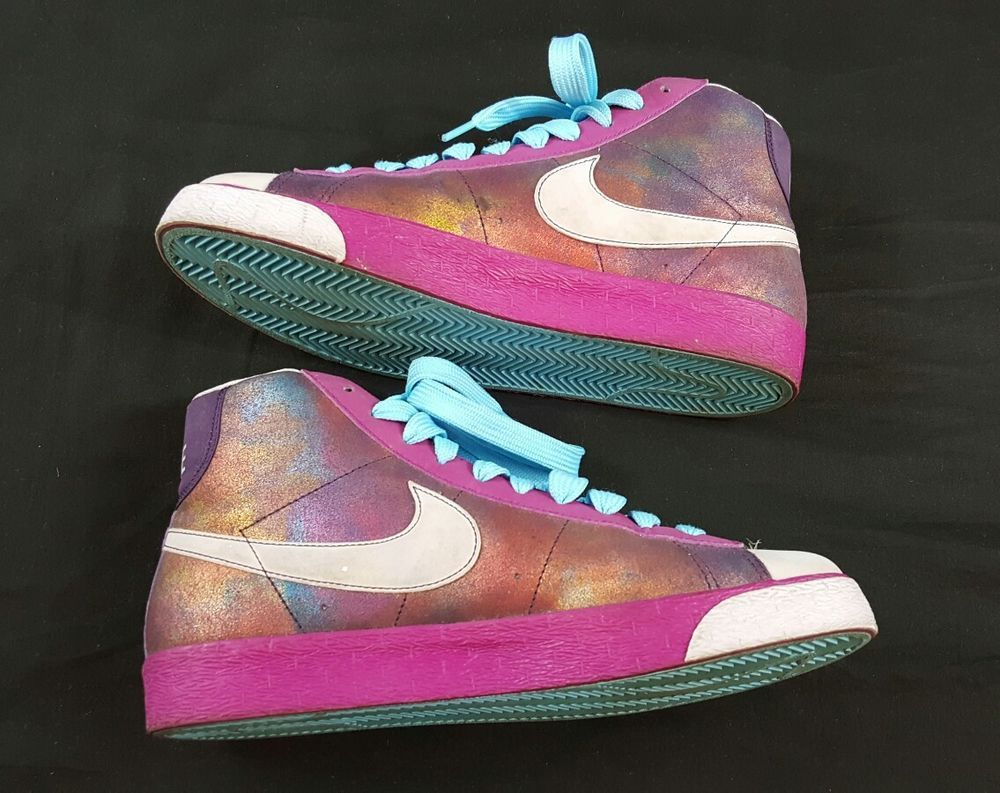 Womens size 6.5 Nike Blazers Purple Pink and blue.