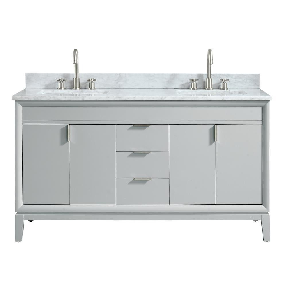 Emma 61 In W X 22 In D X 35 In H Bath Vanity In Dove Gray With Marble Vanity Top In Carrara Wh Granite Vanity Tops Vanity Combos Marble Vanity Tops
