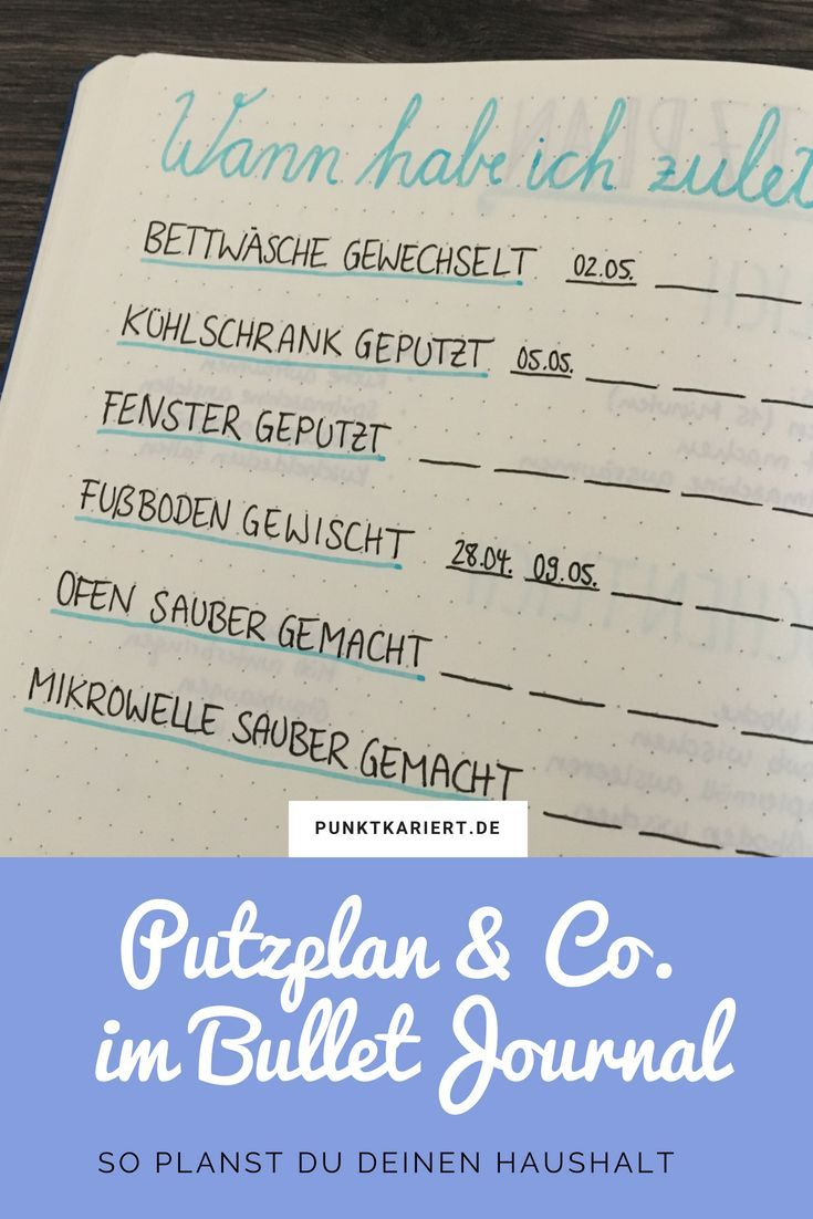 Haushalt organisieren im Bullet Journal mit Putzplan & Co