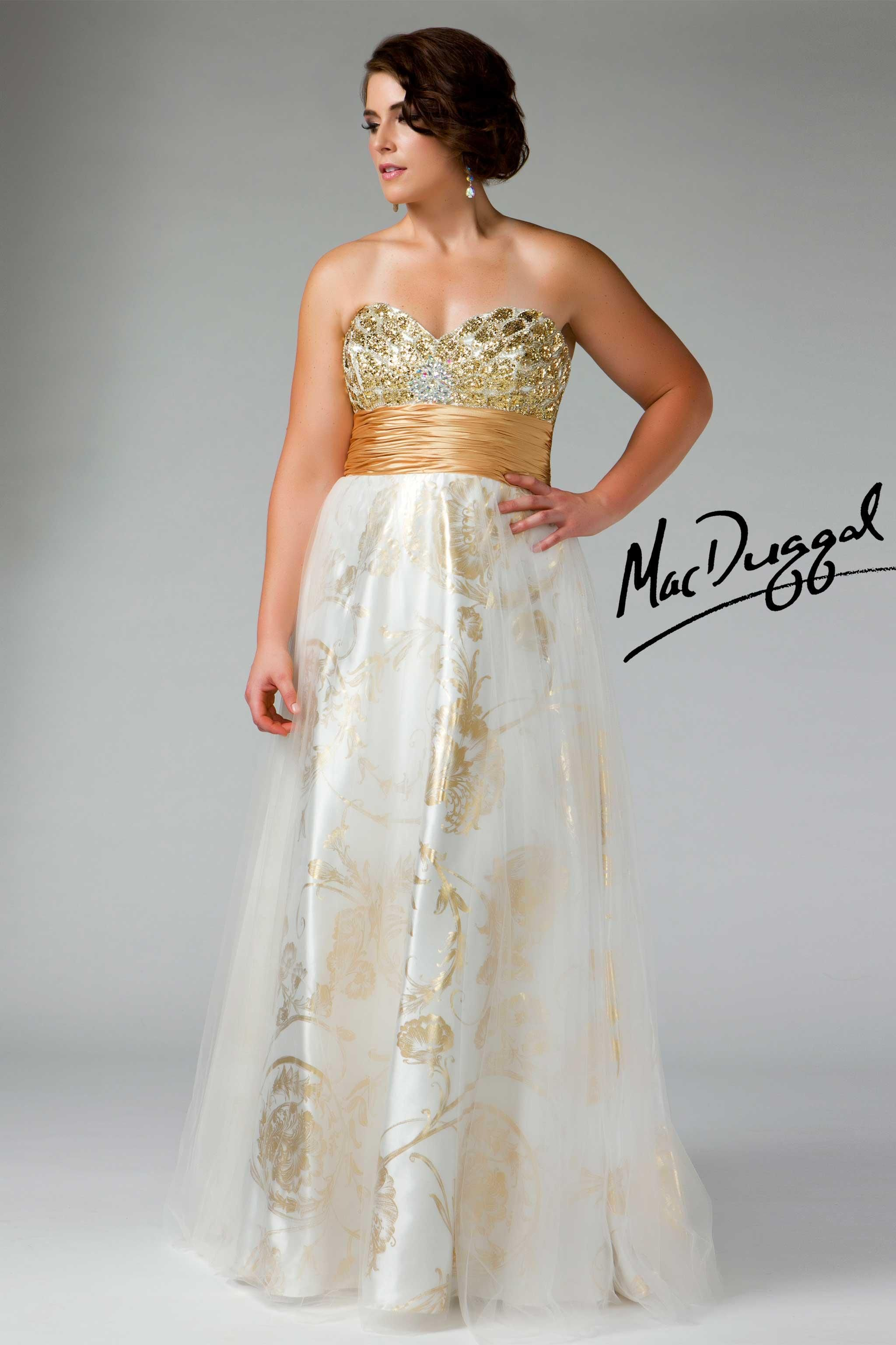 Plus Size Prom Dress with Gold Embossed Skirt - Mac Duggal 6236F ...