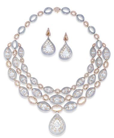 Glenn Spiro's jadeite suite includes a necklace set with a pear-shaped diamond weighing 10.5 carats, 42 old-cut diamonds, greyish-blue Jade, rose-cut diamonds and white jade.
