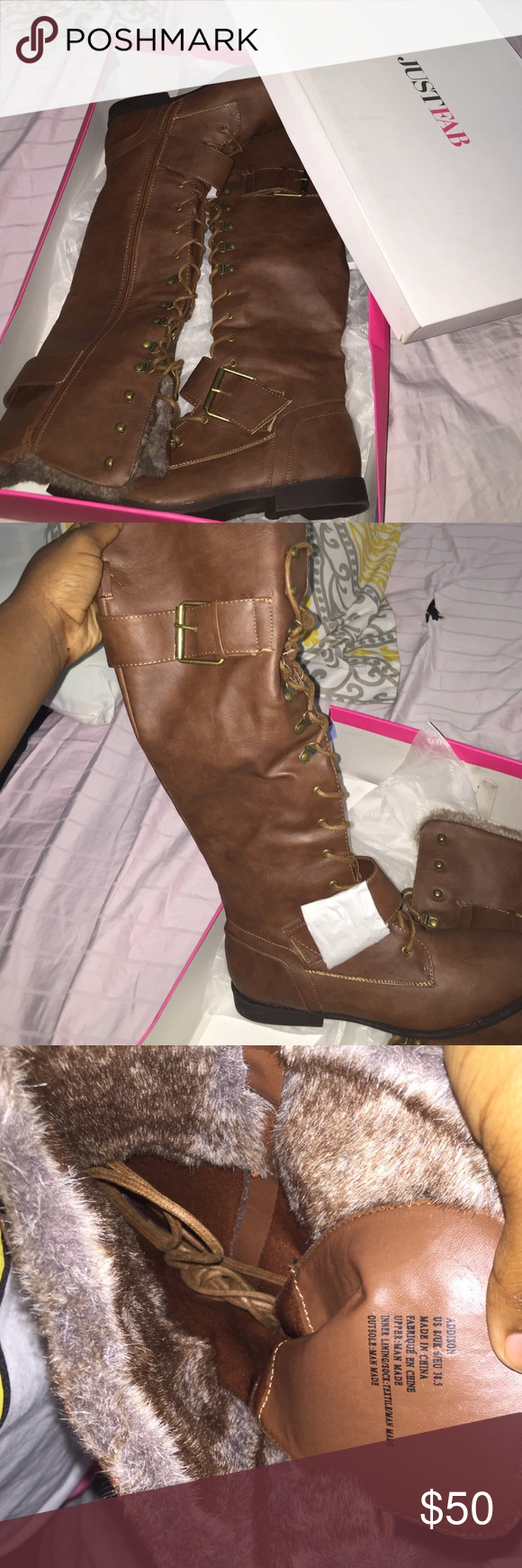 These are Addison Boots from JustFab. Never Wore . These are Addison boots from JustFab. They are in the color cognac. They are really cute stylish boots. Never got around to wearing them. They are size 8 and have never been worn. JustFab Shoes Winter & Rain Boots