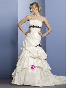 A-ligne Sans bretelles Traîne moyenne Robe de mariée en Taffetas avec Jupe ample & ornée Strass Ruché(FR0254909)