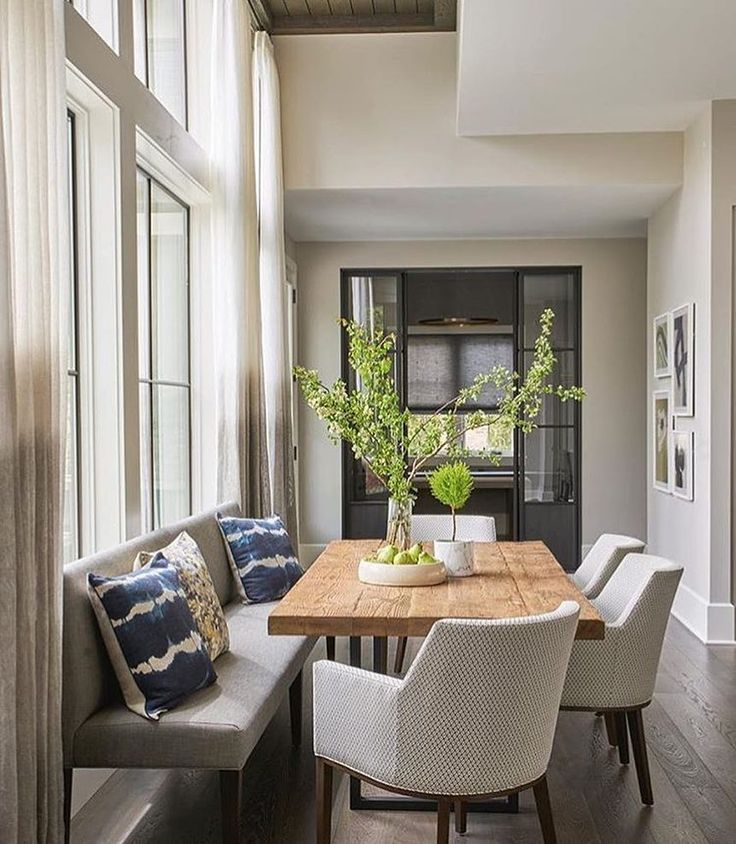 25 Beautiful Neutral Dining Room Designs: Cozy Breakfast Or Dining Nook With Upholstered Bench In