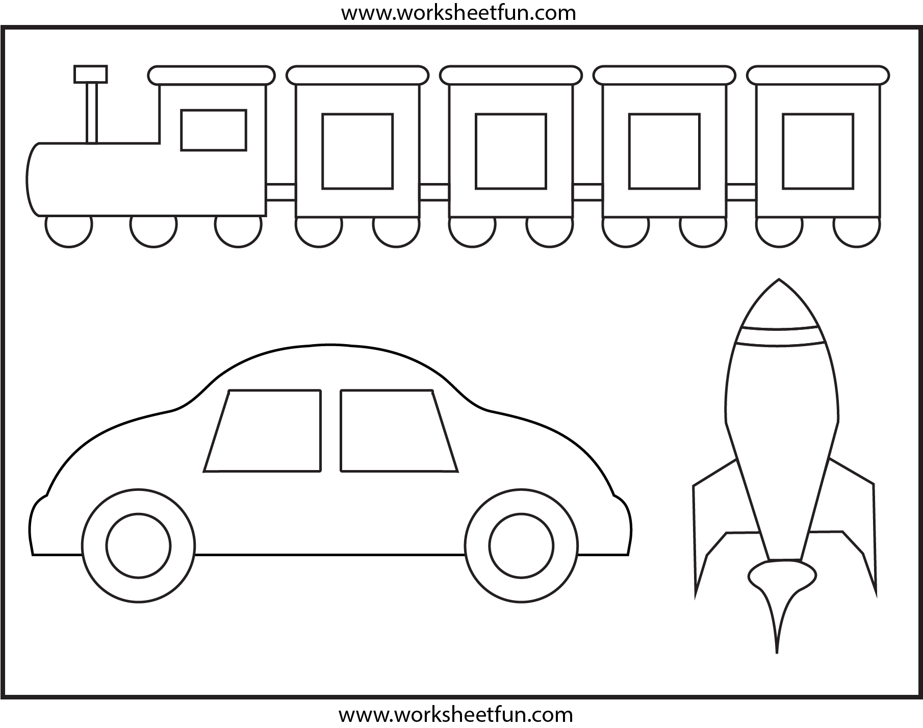 Coloring Worksheet - Transportation