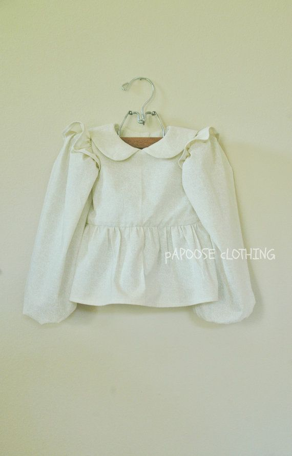 Long Sleeve Peplum Blouse with Peter Pan Collar by papooseclothing, $45.00