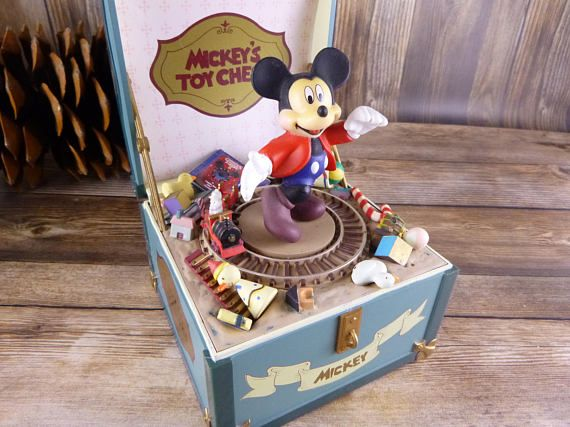 Mickeys Toy Chest Moving Music Box Plays Toyland Disney Toy Chest Disney Musical Vintage Disney