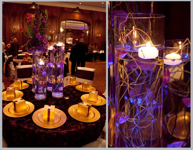 Centerpiece Of Purple Pink And Gold La Colombe DOr Wedding By Rachel Robinson