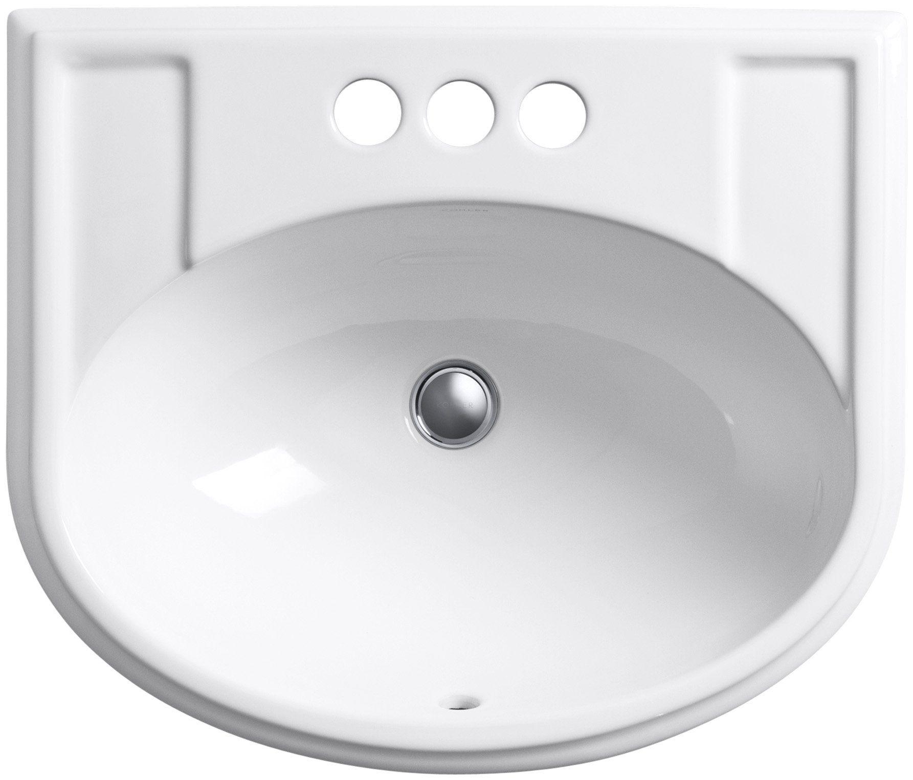 KOHLER K-2279-4-0 Devonshire Self-Rimming Bathroom Sink, White ...