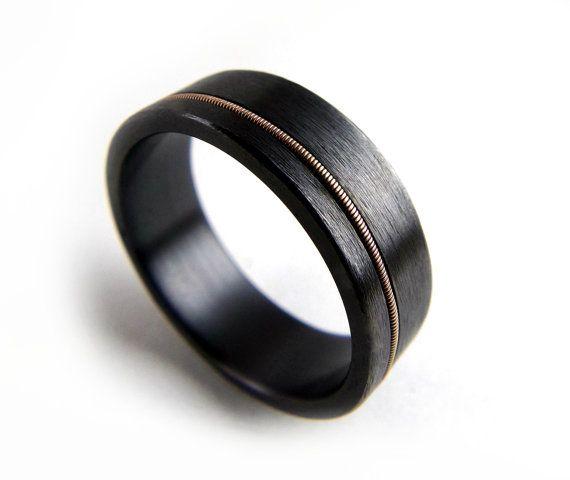 black zirconium ring guitar string ring black by grandjunctionguy wedding stuff black. Black Bedroom Furniture Sets. Home Design Ideas