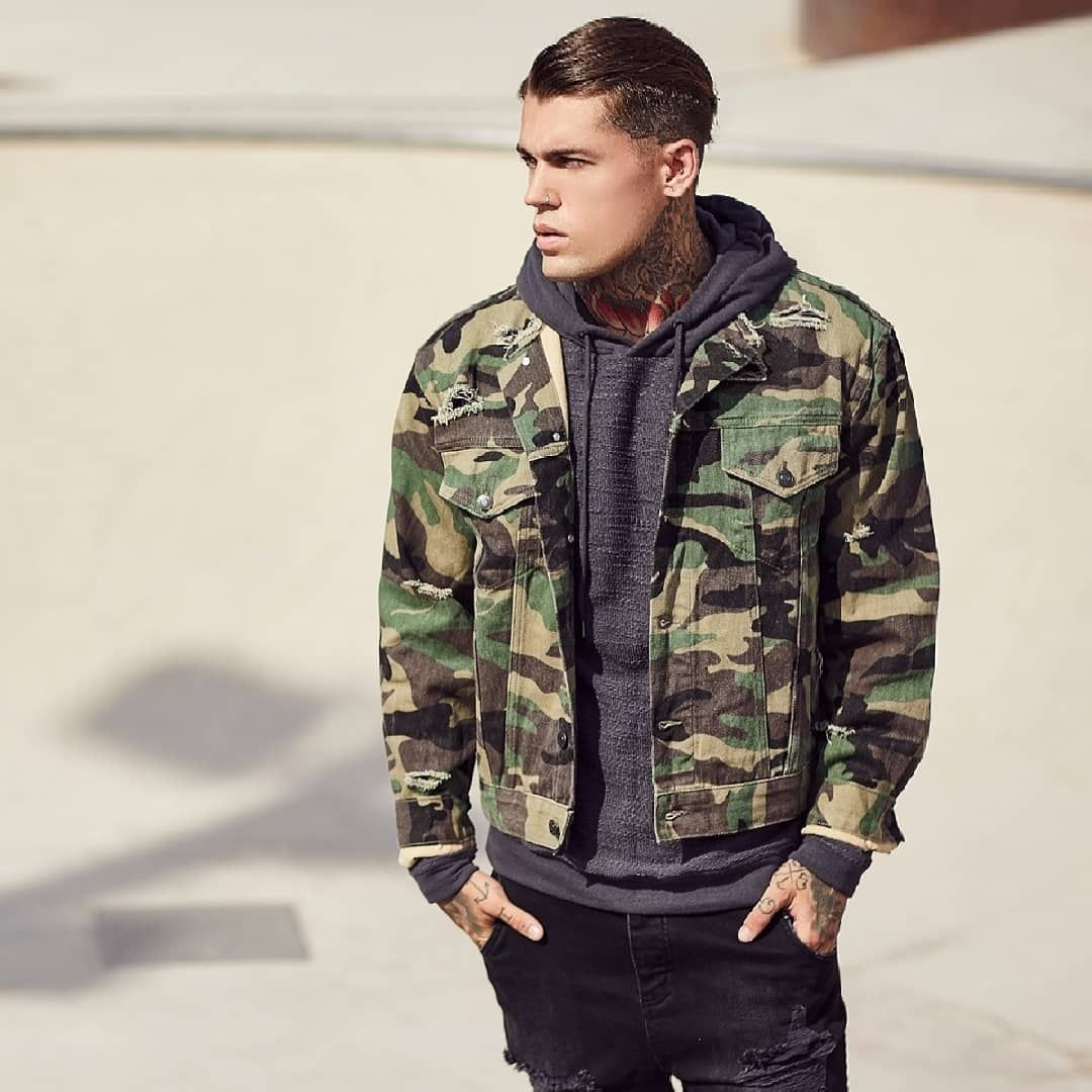 """dfee9216ed SIKSILK on Instagram  """"The SikSilk Camo Collarless Denim Jacket in Camo  looks great worn over Hoodies - get yours in the Sale at www.siksilk.com  🔎SS-12812 ..."""