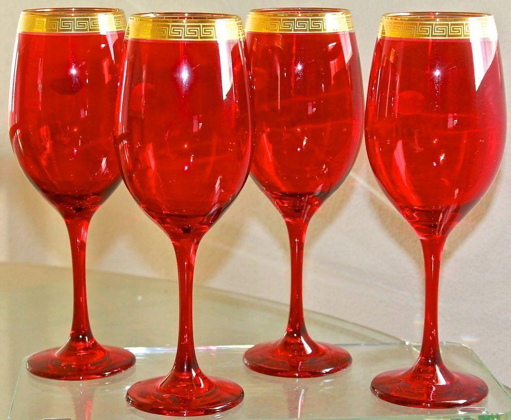 Wine Goblets Set Of 4 Red Gold Greek