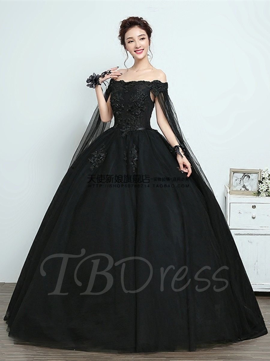 Off The Shoulder Appliques Ball Gown Black Quinceanera Dress Black Quinceanera Dresses Gowns Ball Gowns [ 1200 x 900 Pixel ]