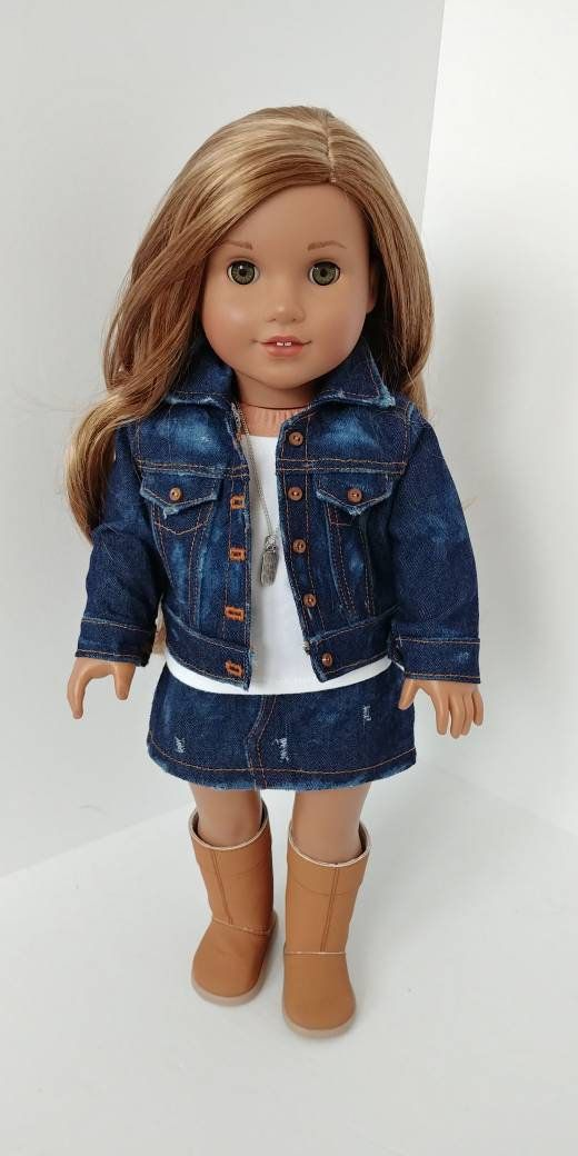 Denim Jean jacket 18 inch doll clothes. Fits like American girl doll clothes. Denim jacket #girldollclothes