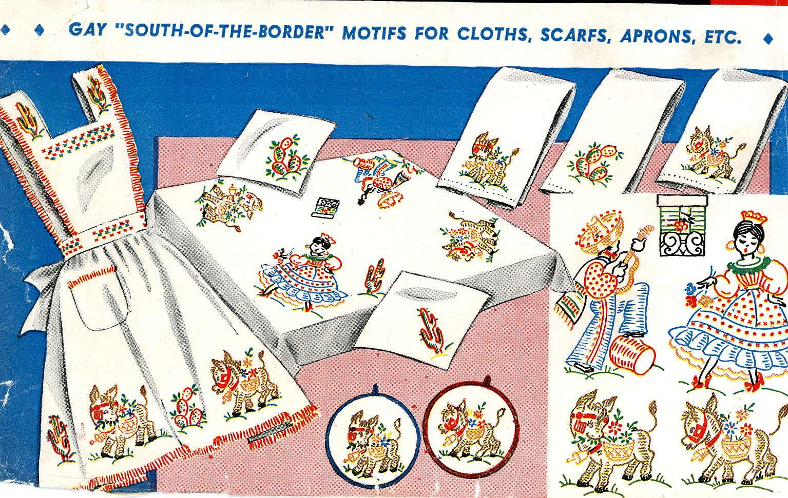Vintage Hand Embroidery Pattern 133 Mexican Fiesta Burro Cactus ...