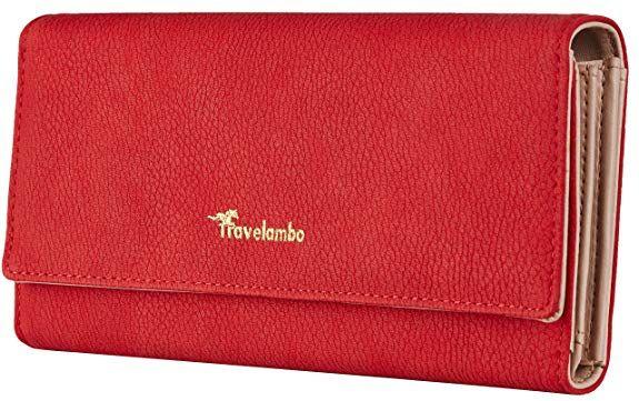 9da3e0652b15 Travelambo Womens Wallet Faux Leather RFID Blocking Purse Credit ...