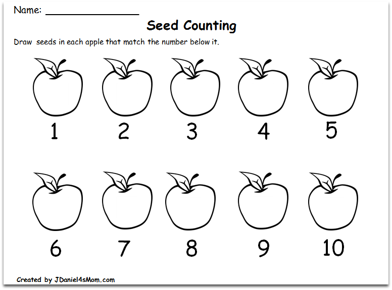 Counting Worksheets 1-10 with an Apple Theme : Writing the
