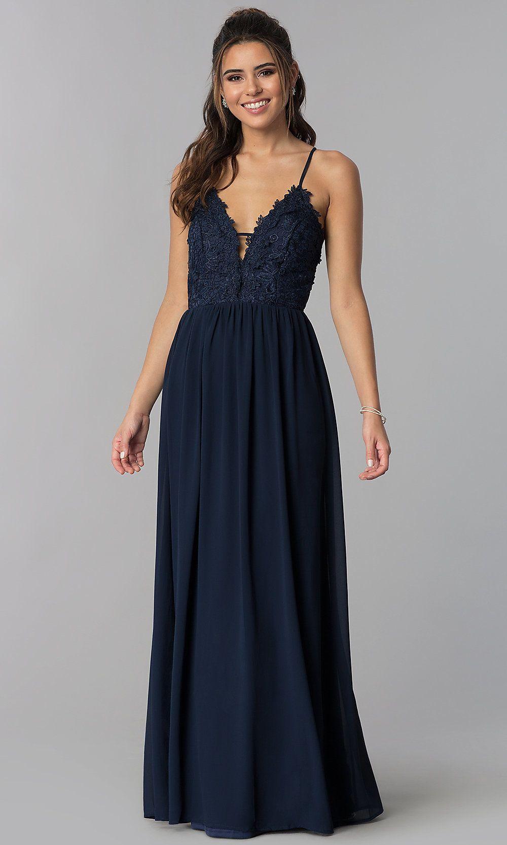 d5de725e65 Long V-Neck Embroidered-Lace-Bodice Prom Dress