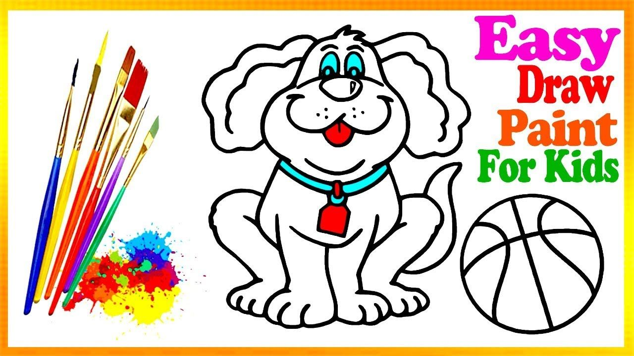 Drawing Dog Scooter Coloring Book Kids Learn Easy Painting Colors Page Kids Coloring Books Coloring Books Easy Paintings