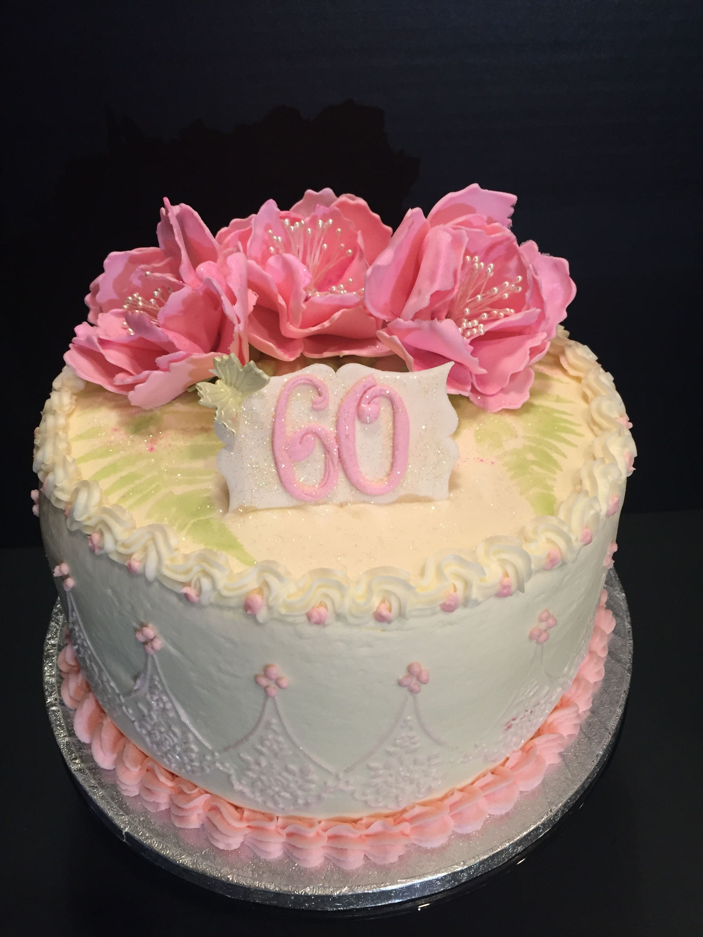 60th Birthday Cake With Handmade Flowers Cake Art Designs By Marie