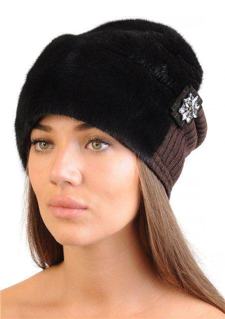 шапка из норки с косой головные уборы меховые шапки шапочка и