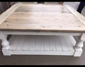 Large Square Rustic Baer Wide Plank Coffee Table Farmhouse Shabby Chic Distressed