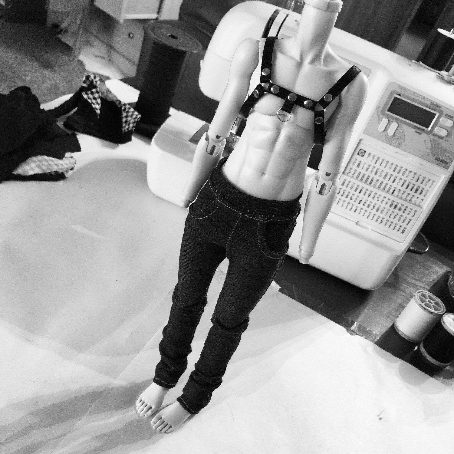 Another behind the scenes picture of poor Volc modeling this custom harness