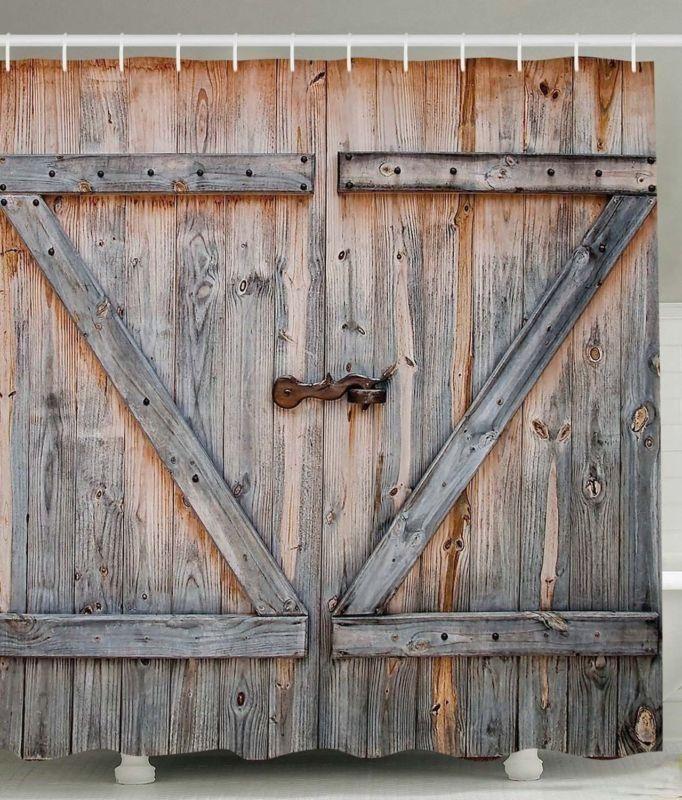 Rustic Country Barn Door Waterproof Resistant Shower Curtain And Hooks Bathroomideas Barn Door Shower Curtain Rustic Shower Curtains Wooden Barn Doors