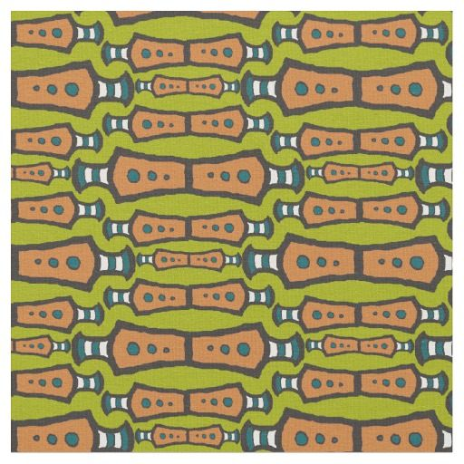 Green Teal White Black Abstract Tribal Design Fabric
