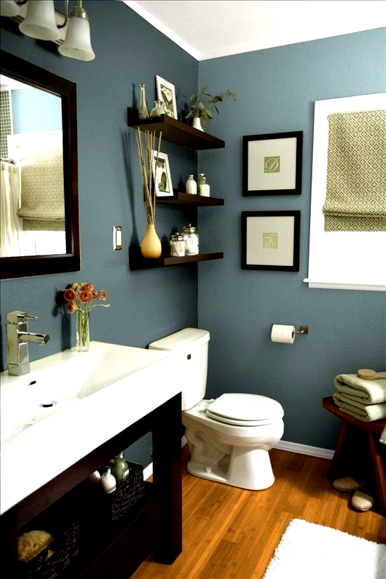 Mountain Stream By Sherwin Williams Beautiful Earthy Blue Paint Color For Bathrooms Especially When Pa In 2020 Green Bathroom Green Bathroom Decor Zen Bathroom Decor