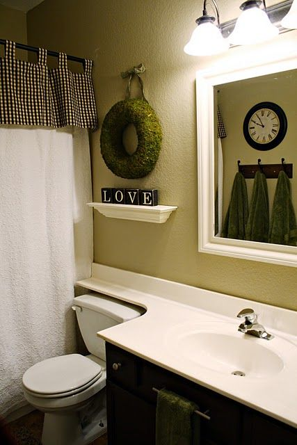 Simply Beautiful Bathrooms: Shelf And Wreath For Powder Room@Becky Lindley McConnohie