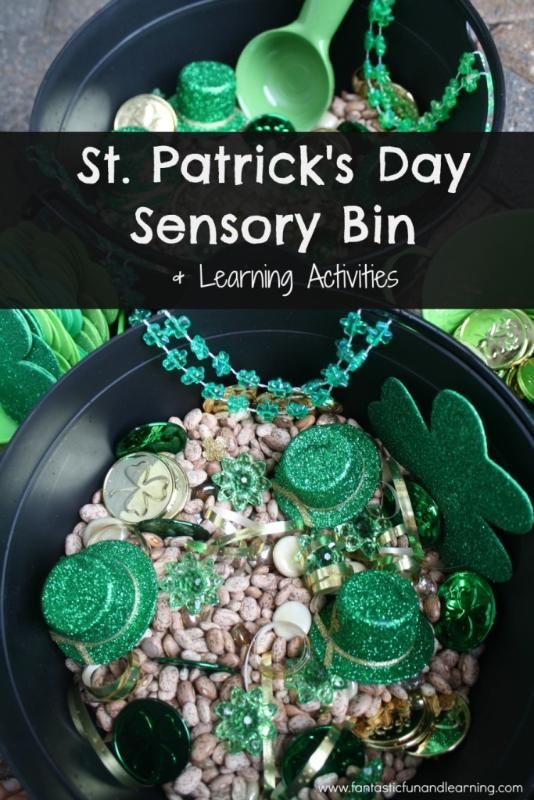 St. Patrick's Day Sensory Bin with Toddler and Preschool Learning Activity Ideas