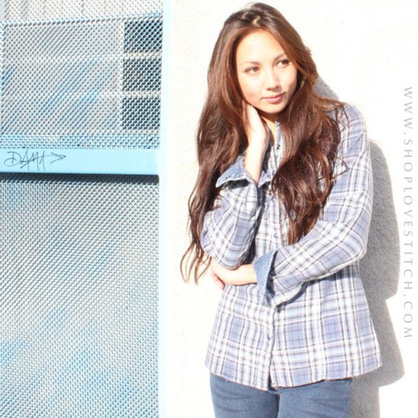 Plaid shirt blouse