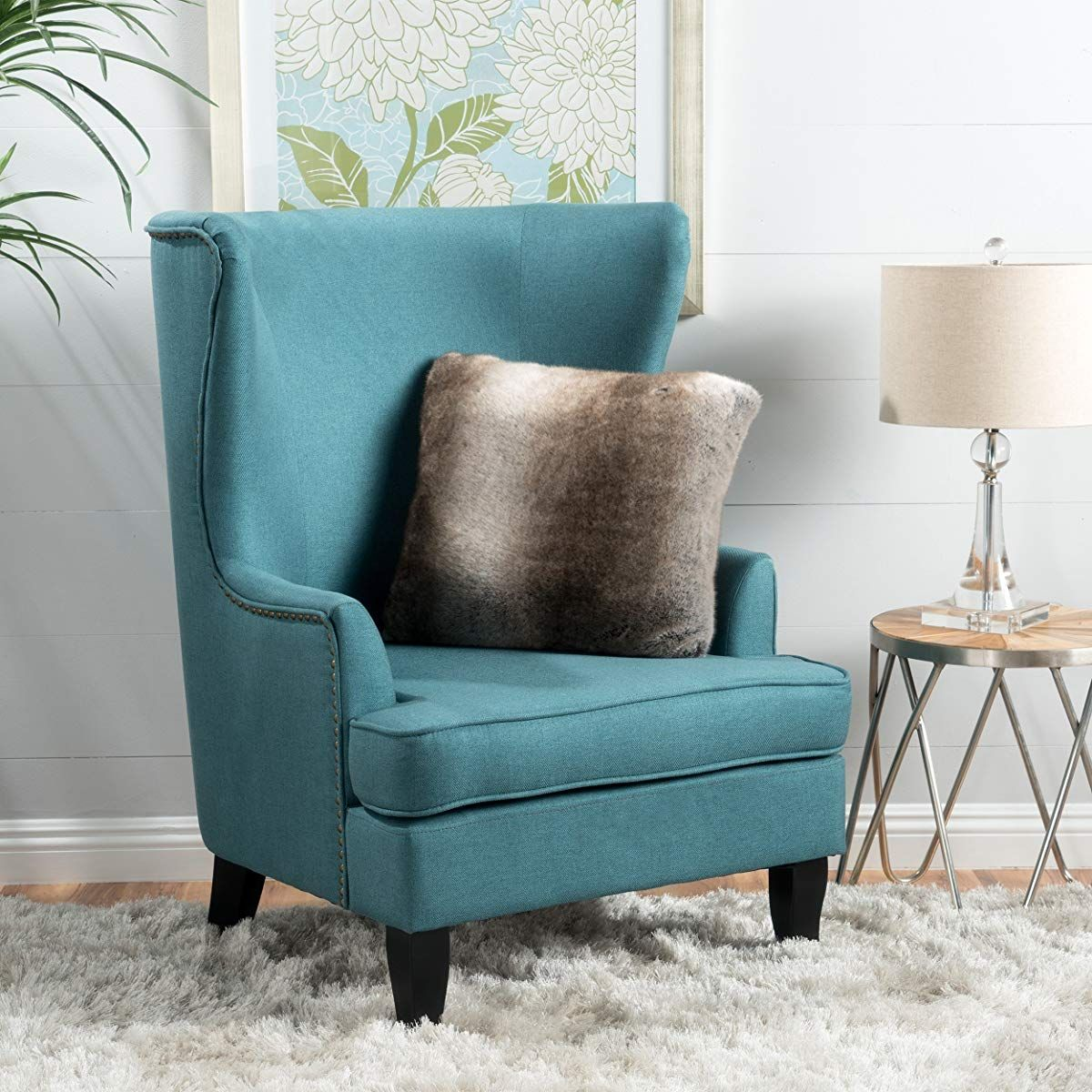 high back teal fabric wing chair  wing chair fabric