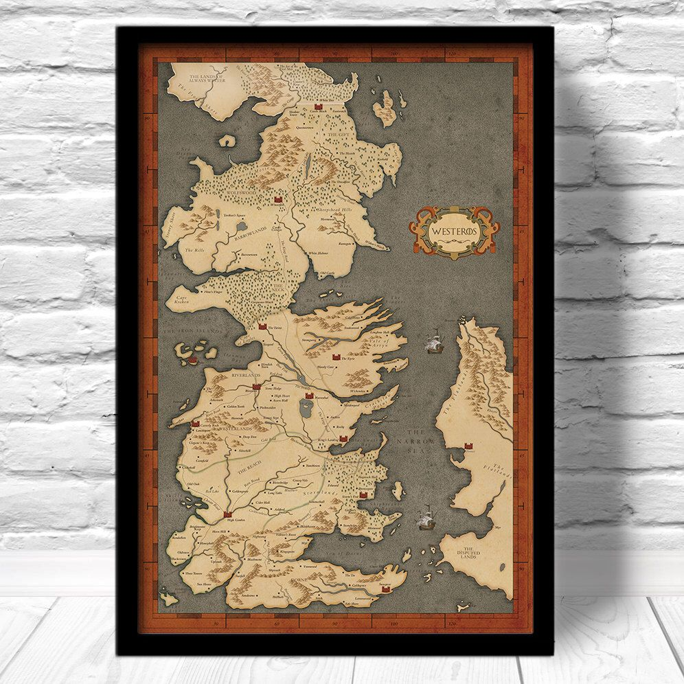 Game of Thrones Map - Vintage Style Map, Fan Art, Home Decor ...