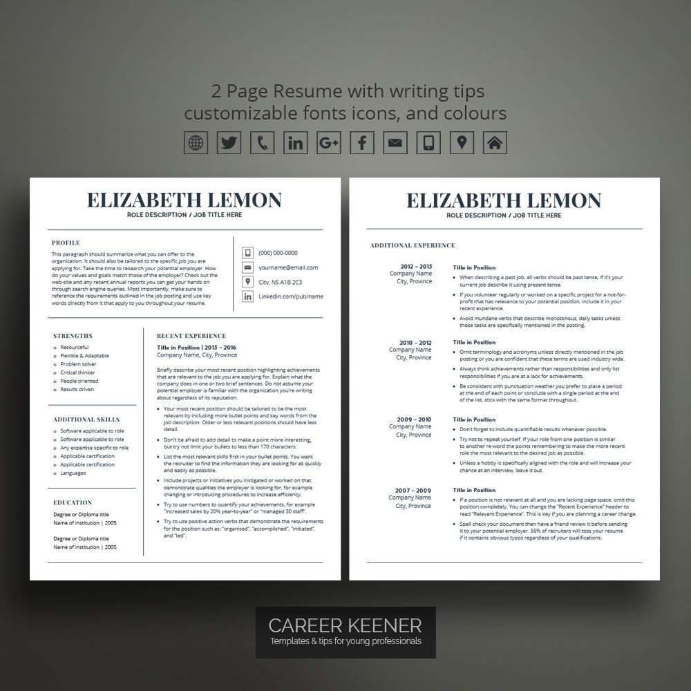 Contemporary Resume Templates Modern Resume Template Resume  Cover Letter For Ms Word Includes