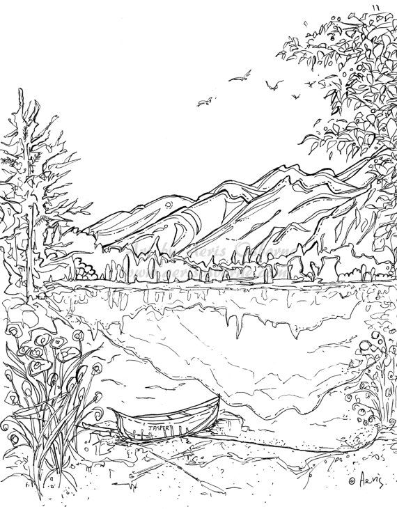 Serenity Jasper Landscape Printable Coloring Page Canoe Mountain Lake