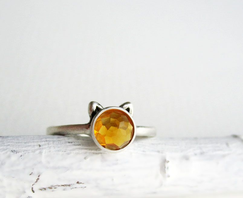 Yellow Cat Ring Citrine by EveryBearJewel on Etsy