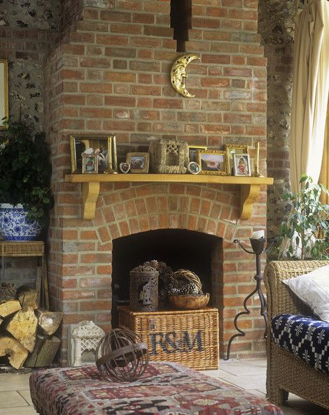 Red brick fireplace decorating ideas country decor - Red brick fireplace makeover ideas ...