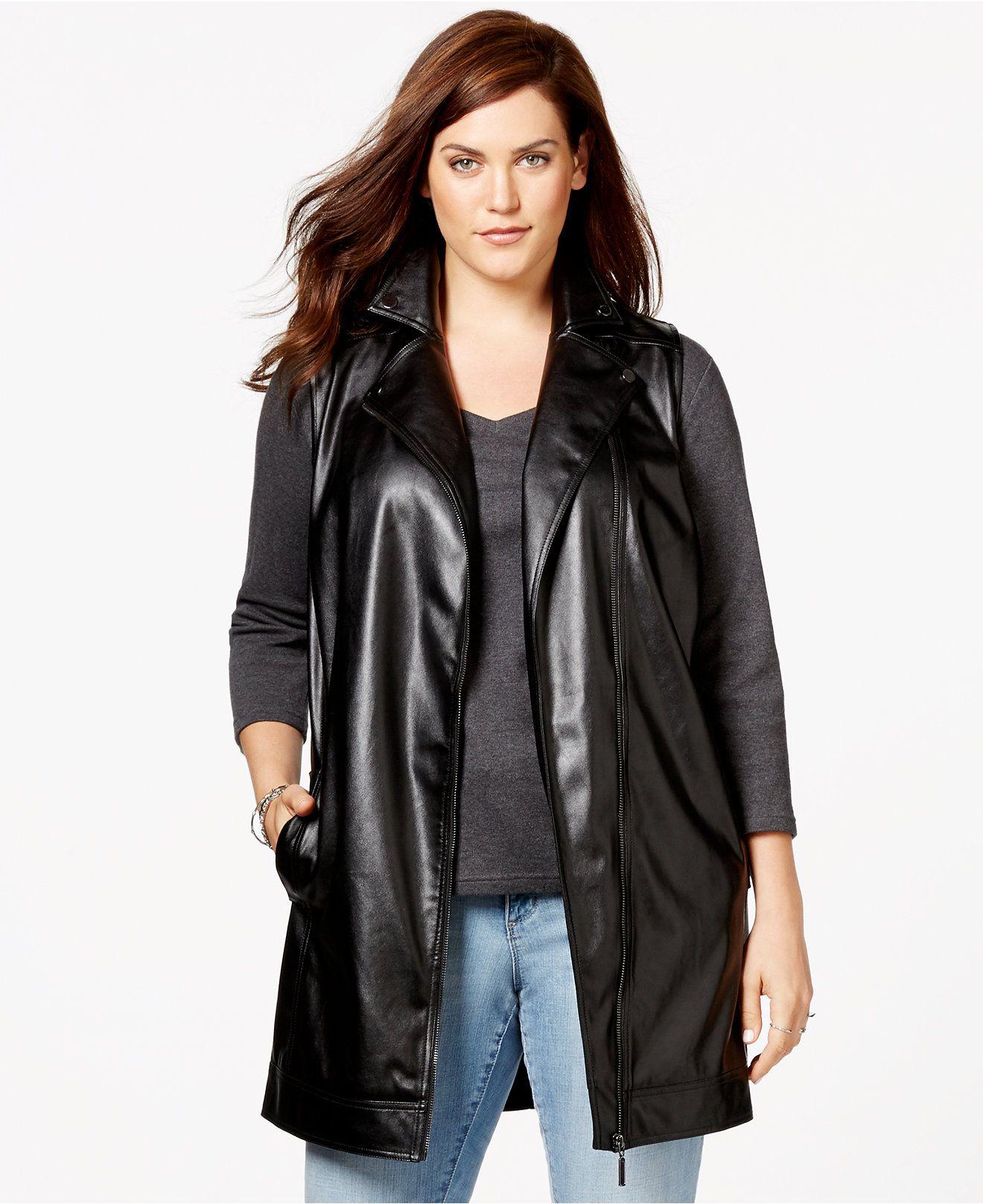 Harper and Liv Plus Size Long FauxLeather Moto Vest