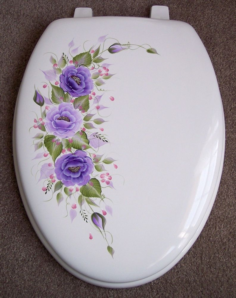 Hand Painted Toilet Seat Roses Purple Elongated With Images Hand Painted Roses