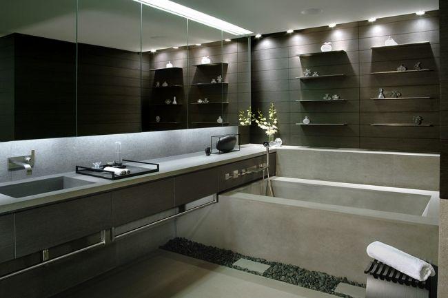 Einbauleuchten Badezimmer ~ Minimalistisches bad wellness ambiente einbauleuchten regale